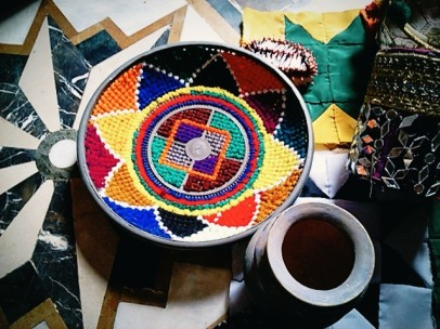 The colorful craft work made by skilled girls